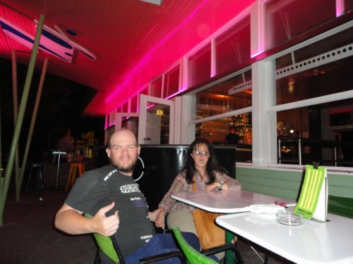 Tony, Tatiana at the Voltsgarten restaurant/bar.