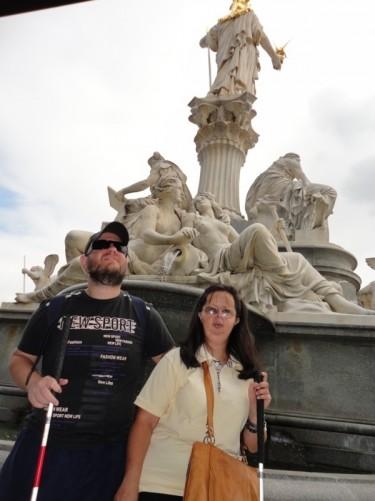 Tony and Tatiana at the back of the Athene Fountain.