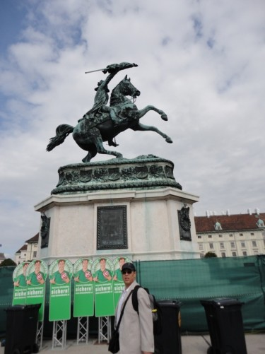 A large statue of Archduke Charles of Austria (1771 – 1847) on horseback. In Heldenplatz, a large square in front of the Hofburg Palace.