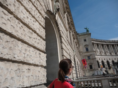 Another view of the palace exterior at the entrance archway.