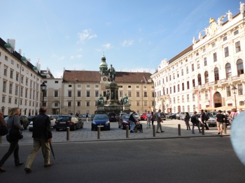 Hofburg Palace inner courtyard. A monument to Emperor Franz Joseph I stands in the middle.