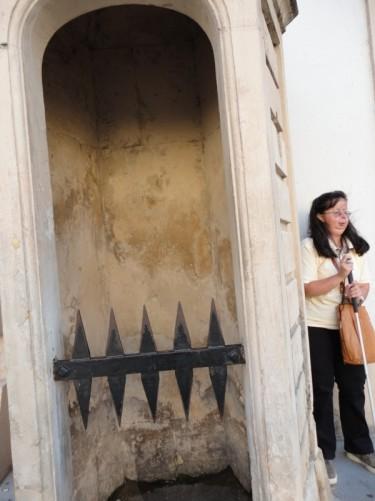 Tatiana by a stone sentry box close to the Swiss Gate.