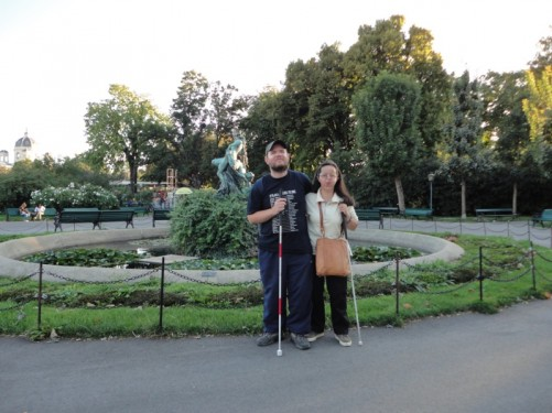 Tony and Tatiana standing by a fountain in the Volksgarten ('People's Park'). Taken in the early evening. This public park was opened in 1820.