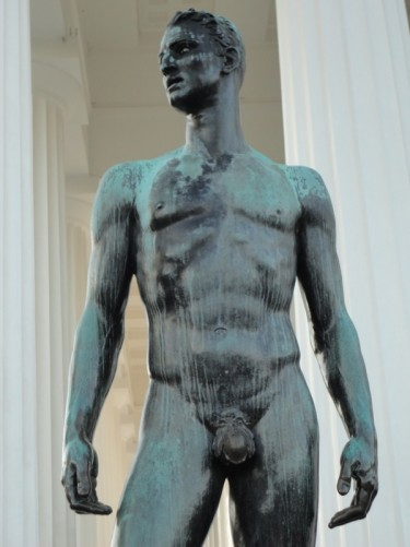 A closer view of 'The Winner' statue.