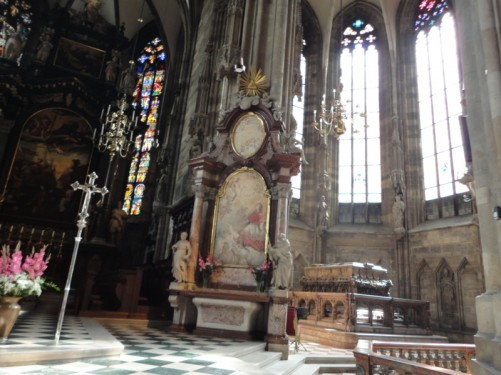 Looking towards the right side of the main altar. In the corner is the large sarcophagus of Emperor Frederick III.
