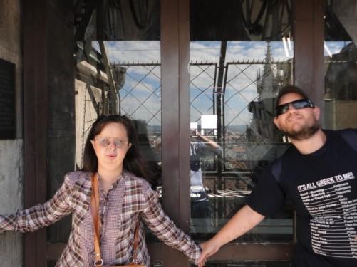 Tatiana and Tony up the north tower.