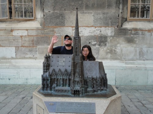 Tony and Tatiana behind a metal model of the cathedral in Stephansplatz.