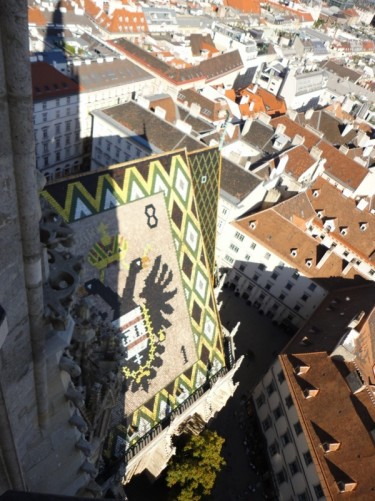 The cathedral roof below decorated with tiles forming a mosaic of a double-headed eagle: the symbol of the Habsburg empire.