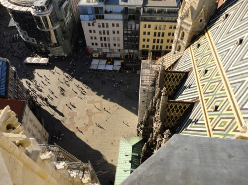 Looking down to Stephansplatz from the 136-metre tall south tower.