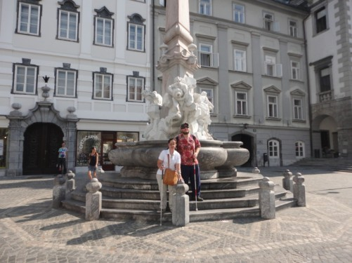 Tony and Tatiana in front of the Fountain of the Three Carniolan Rivers in Town Square.