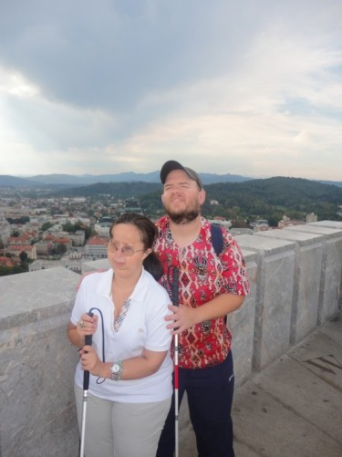 Tatiana, Tony, on the castle ramparts. Parts of the ramparts date from the 15th century.