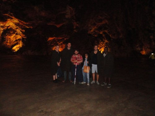 Tony and Tatiana with other visitors in one of the caves.
