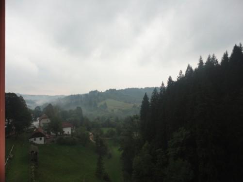 Looking across a green, leafy, slightly misty valley from Predjama Castle.