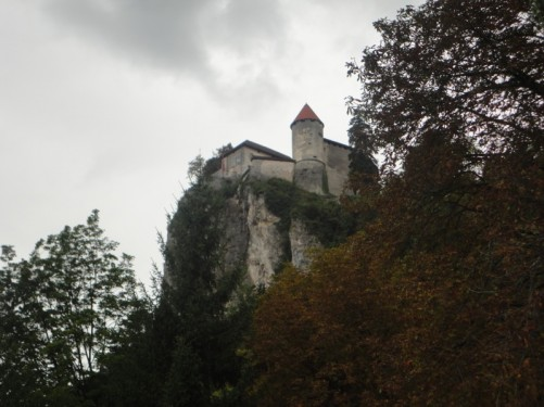 Looking up at Bled Castle, located on an outcrop of rock 139 metres above the lake.