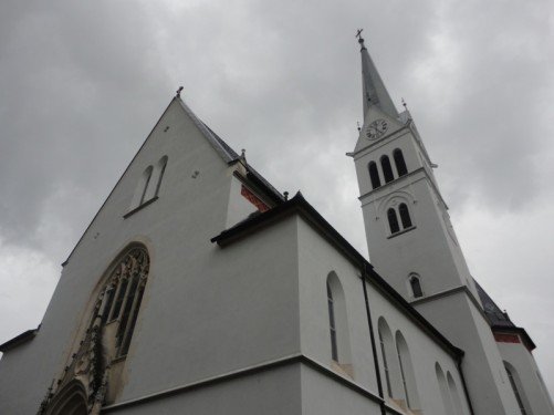 Exterior of Saint Martin's Church in Bled. A Neo-Gothic structure built between 1903-05.