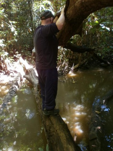 Tony crossing a stream on a tree trunk bridge. Nearly at the Amerindian village.