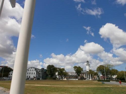 View across Paramaribo's grass-covered Independence Square (Onafhankelijkheidsplein in Dutch!).