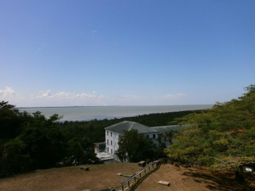 View from the ruins of 17th-century Fort Cépérou looking towards the mouth of the Cayenne River as it joins the Atlantic Ocean.
