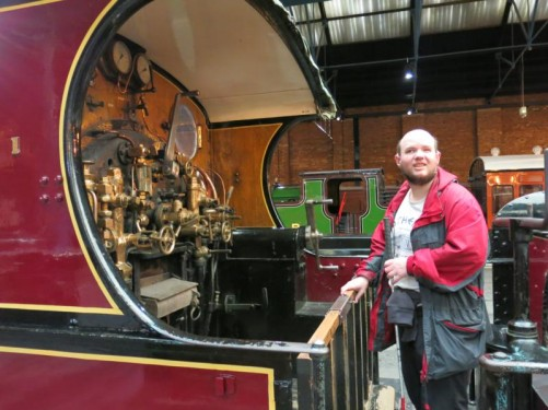 Tony on a steam locomotive. The controls in front of him. National Railway Museum, York.