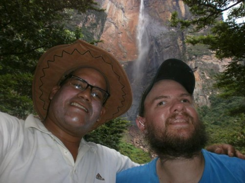 Tony with his guide George at the base of Angel Falls. It takes most people about 1.5 hours to hike to the base and lookout at Angel Falls, it took me over 3 hours!