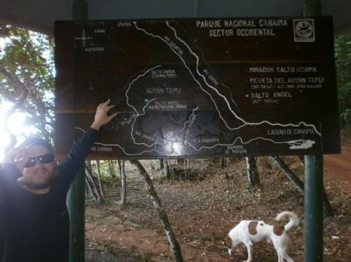 Tony pointing at a tactile map of Canaima National Park.