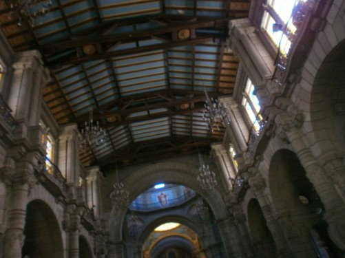 Looking up at the ceiling from the cathedral's central aisle.