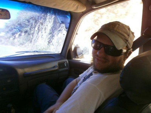 Tony in a car heading up into the Andes mountains near Merida to go paragliding.