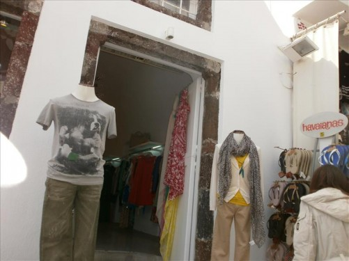 Doorway into a different ladies' clothes shop.