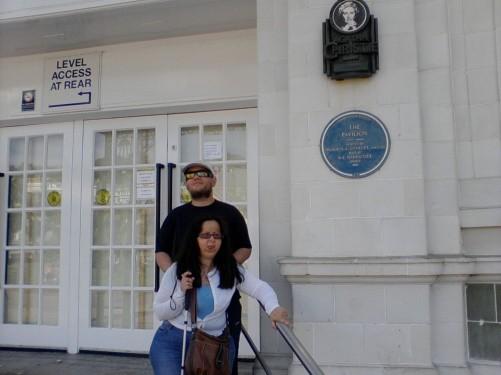 Tony and Tatiana outside the Pavilion, Torquay.