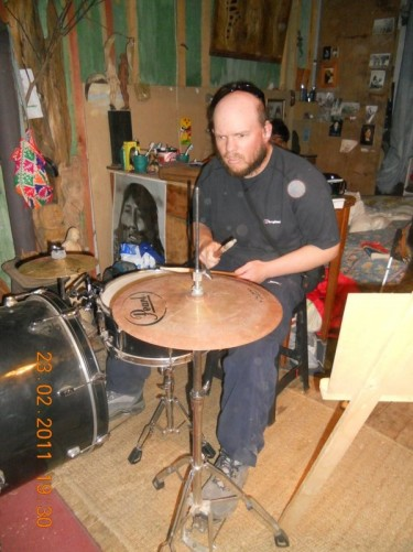 A closer view of Tony at the drum kit.
