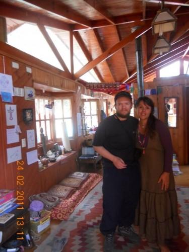 Tony and Sandra inside the hostel.