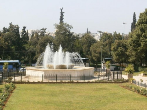 A fountain in front of the Zappeion (Záppeion Mégaro). Located on the south side of the extensive National Gardens.
