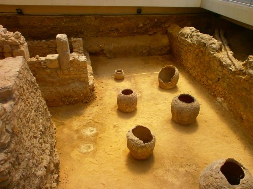 Roman vases within the bath complex excavations.