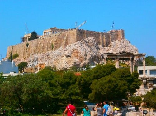 An excellent view of the Acropolis looking from the Temple of Olympian Zeus.