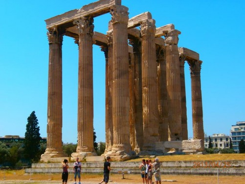 A closer view of the Temple of Olympian Zeus. Only 15 of the temple's original 104 Corinthian columns are still standing. This colossal temple was dedicated to Zeus, king of the Olympian gods. Construction began in the 6th century BC, but it was not completed until the reign of the Roman Emperor Hadrian in the 2nd century AD - some 638 years later.