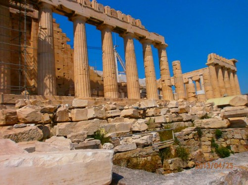 View along one side of the Parthenon.