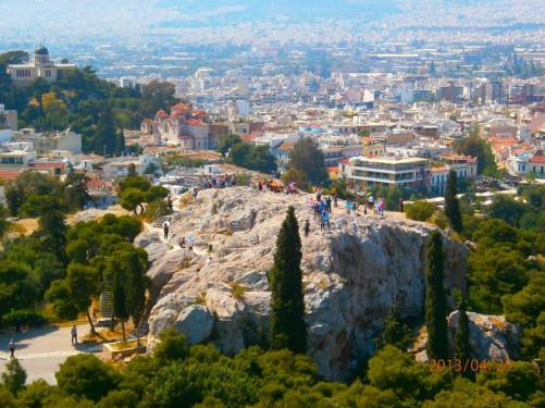 Looking down to the Areopagus (the 'Rock of Ares'), north-west of the Acropolis. In classical times it functioned as the High Court of Appeal for criminal and civil cases. It was from this location that Apostle Paul is said to have delivered the famous speech to the Athenians.
