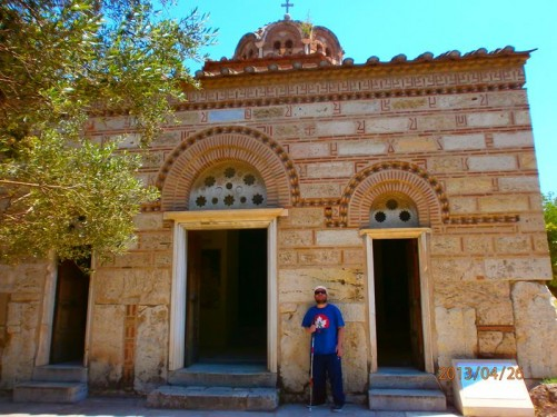 Tony outside the Church of the Holy Apostles (also known as the Holy Apostles of Solaki). This church has been dated to the late 10th century and is located in the Ancient Agora of Athens.