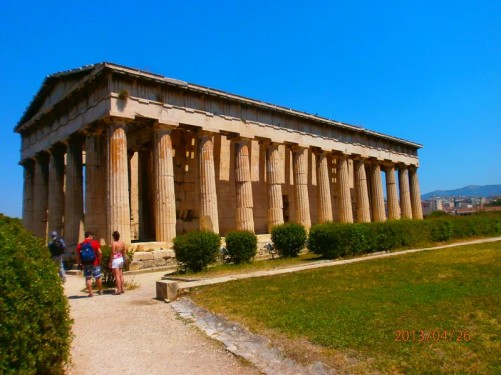 The Temple of Hephaestus: this ancient temple, built between 449 and 415 BC, remains standing largely as it was built, including parts of its roof.