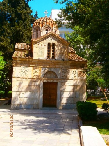The small 12th century Church of St. Eleftherios, also called the 'Little Mitropoli', located to the immediate south of the cathedral. It combines Romanesque and Byzantine styles.