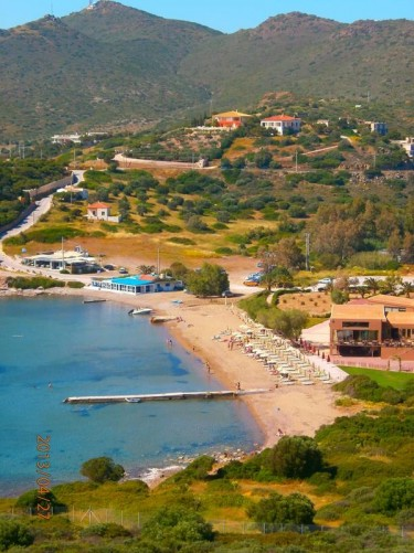View down to Sounion beach. This sandy beach lies in a small bay on the west side of the promontory that the Temple of Poseidon stands on.