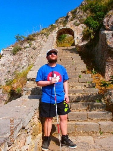 Tony at the foot of a flight of stone steps. After 899 steps you end up at Palamidi Fortress, which sits on a 216-metre high hill above the town.