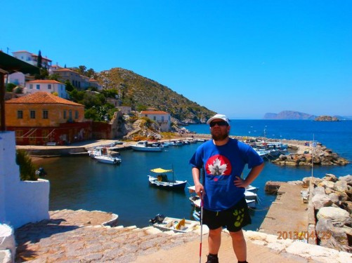 Tony by Kamini Harbour. This small harbour is located at Kamini village on the western edge of Hydra town.
