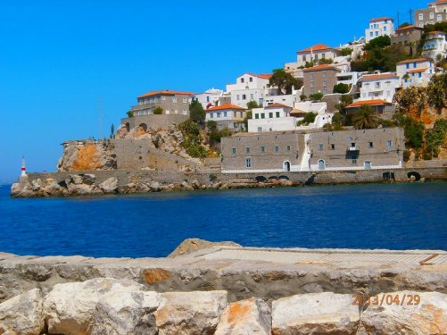 Looking across Hydra's main harbour.