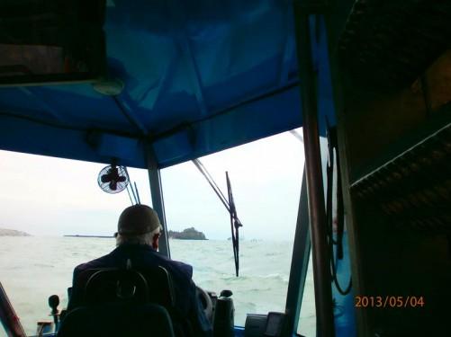 On board the amphibious vehicle heading to Elizabeth Castle.
