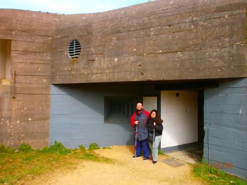 Outside the concrete bunker.