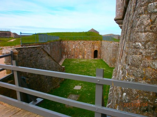 More defensive walls and earthworks in the castle grounds.