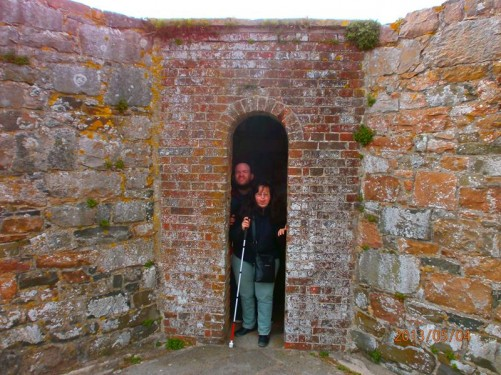 Tony and Tatiana standing inside a very narrow opening in the ramparts.