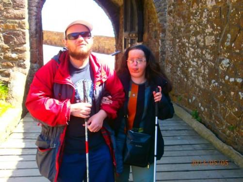 Tony and Tatiana at the castle entrance.