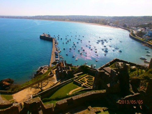 Excellent view of Gorey Harbour and the coastline beyond from the top of the castle.